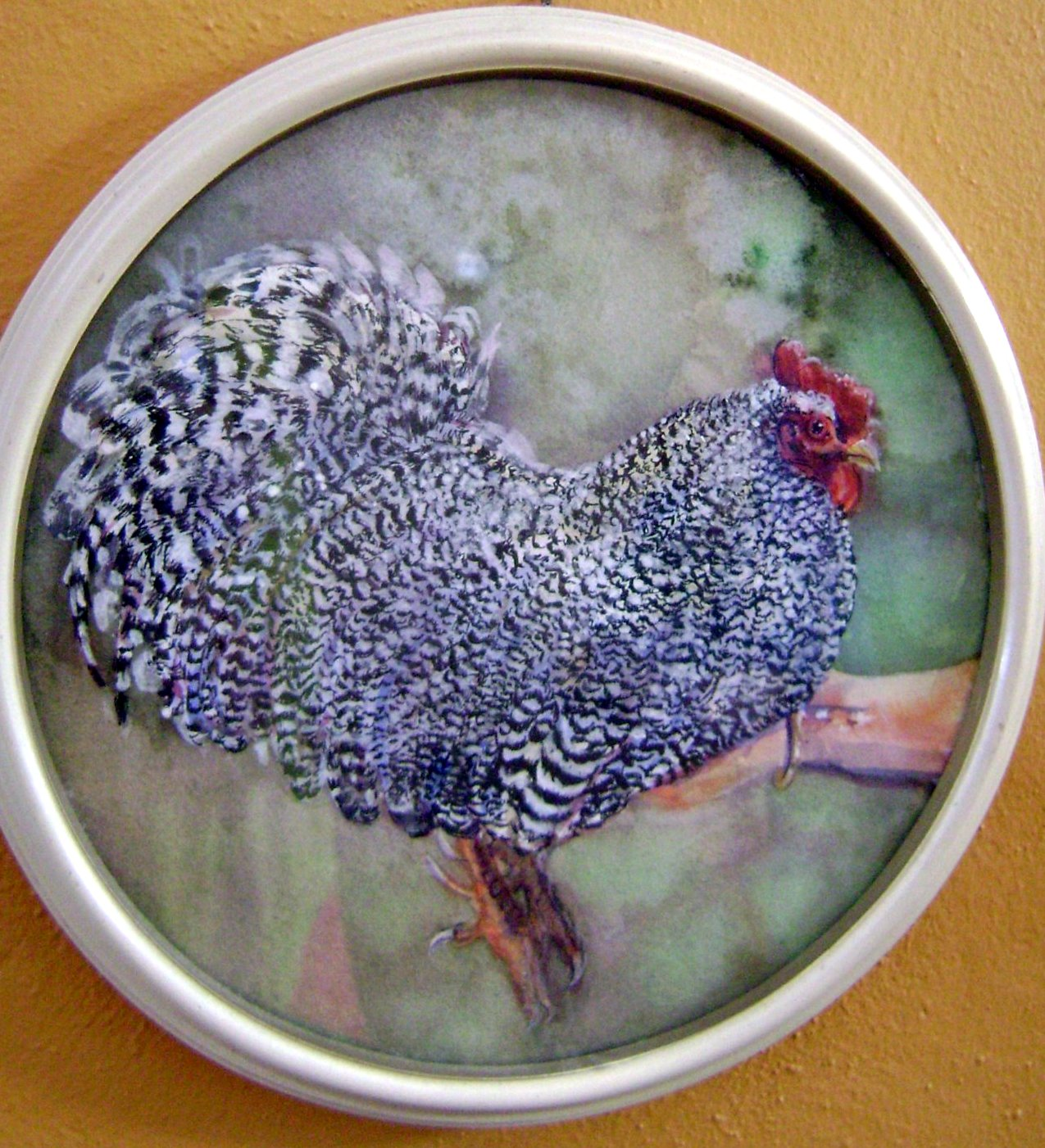 Painting of a chicken by artist Patricia Kessler