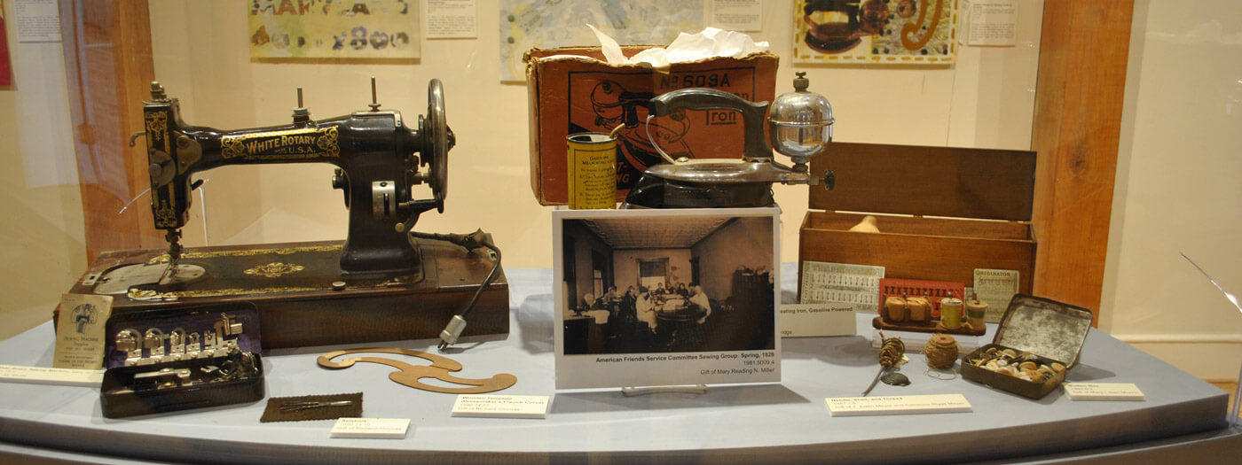Items fromMuseum Exhibits & Collections such as an antique sewing machine, old photos and tools