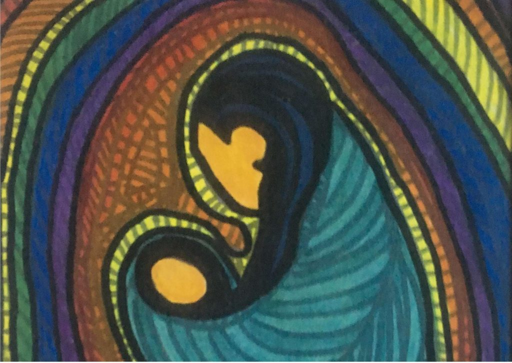 Painting of a mother and child in a rope of rainbow