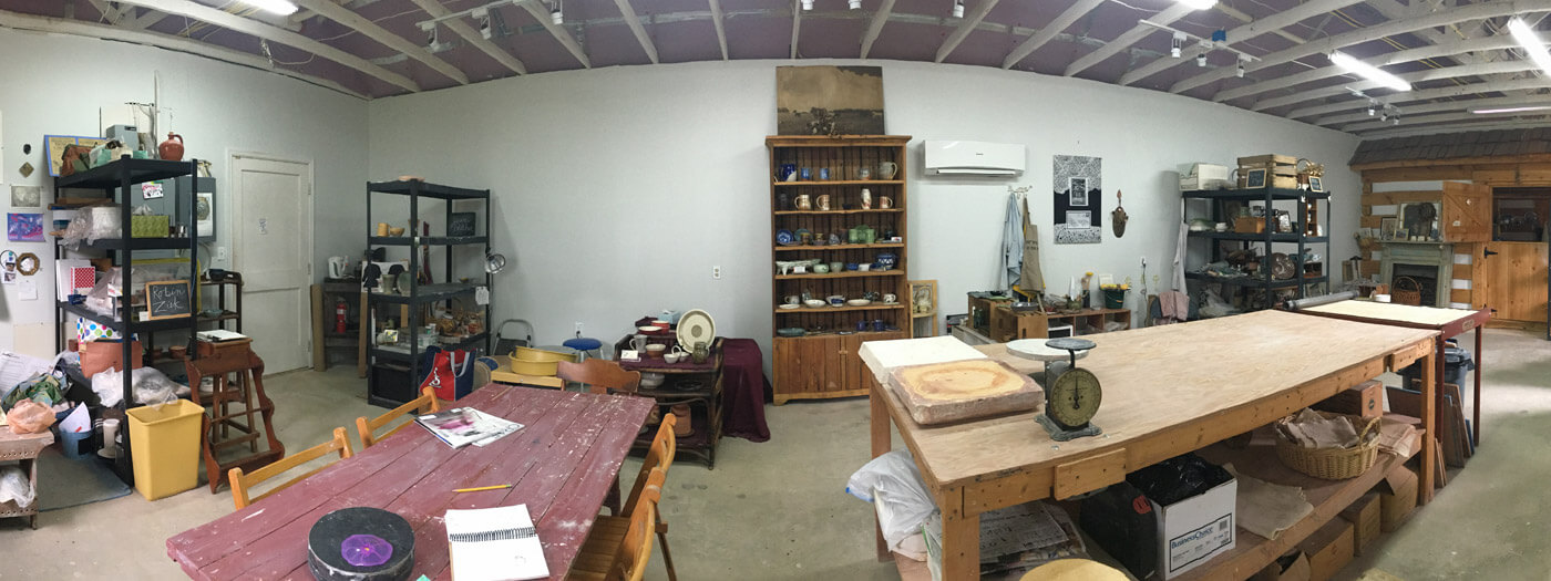 image of an artists pottery studio