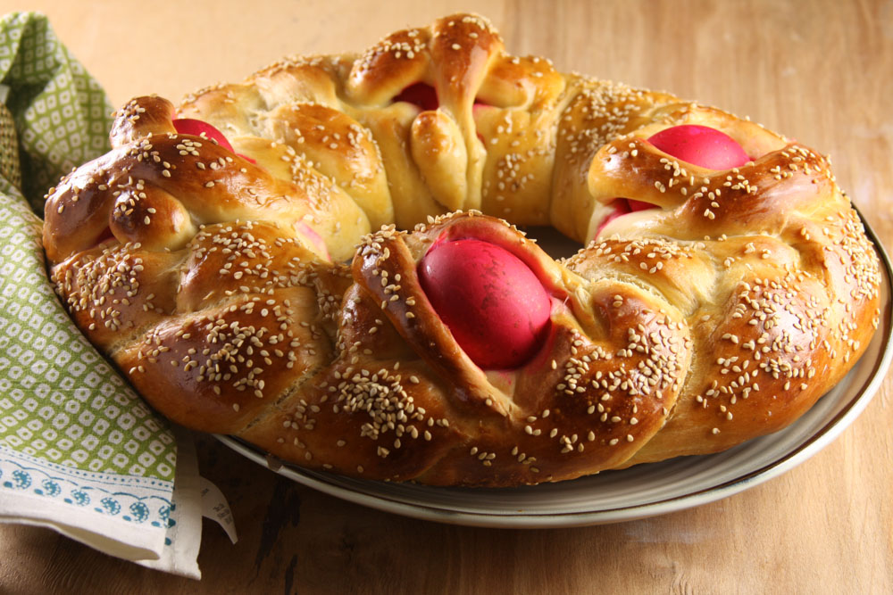 close up of greek easter bread