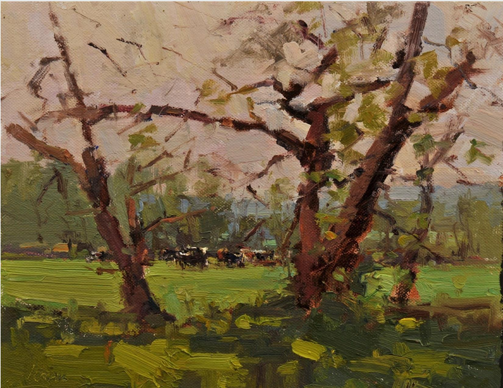 painting of trees with cows in the background