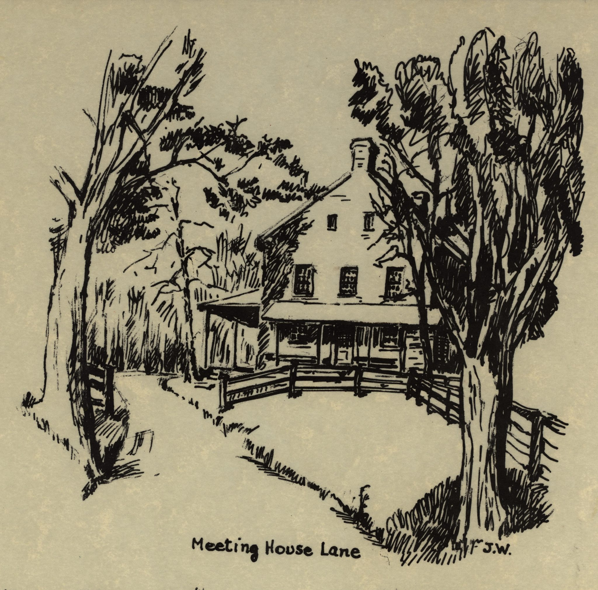 Line Drawing of the Sandy Spring Friends Meeting House