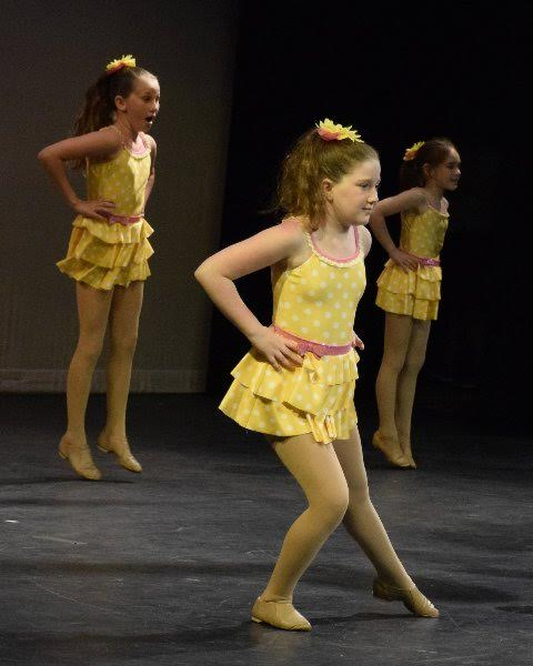 Cute young ballerinas in yellow