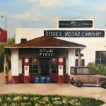 Painting of old gas station and car