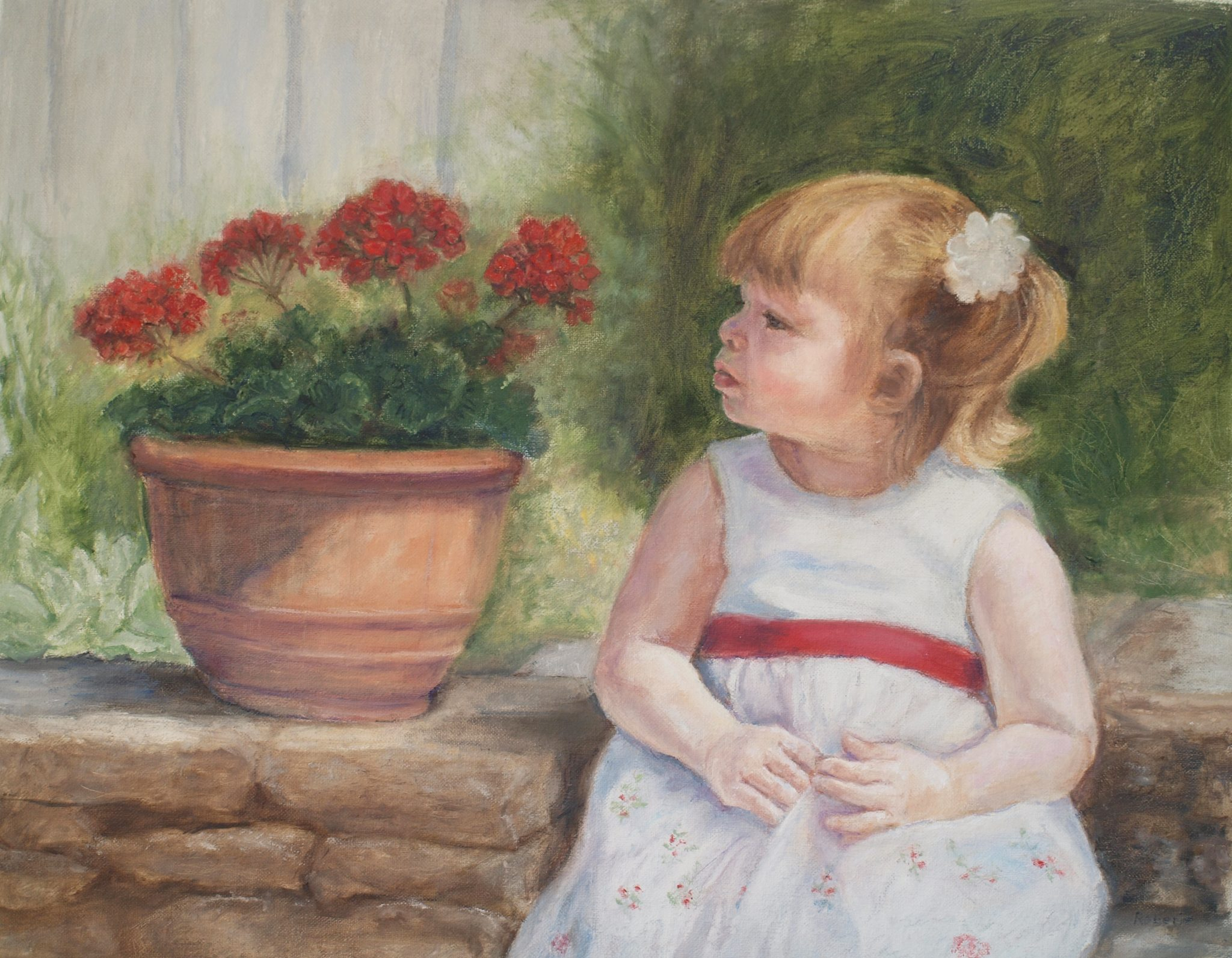 painting of a little girl sitting next to a pot of flowers