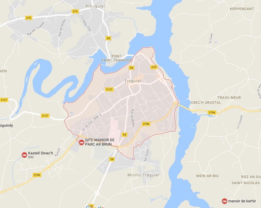 Treguier Map Town