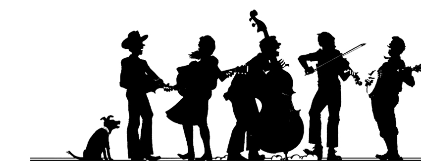 silhouettes of people playing various string instruments