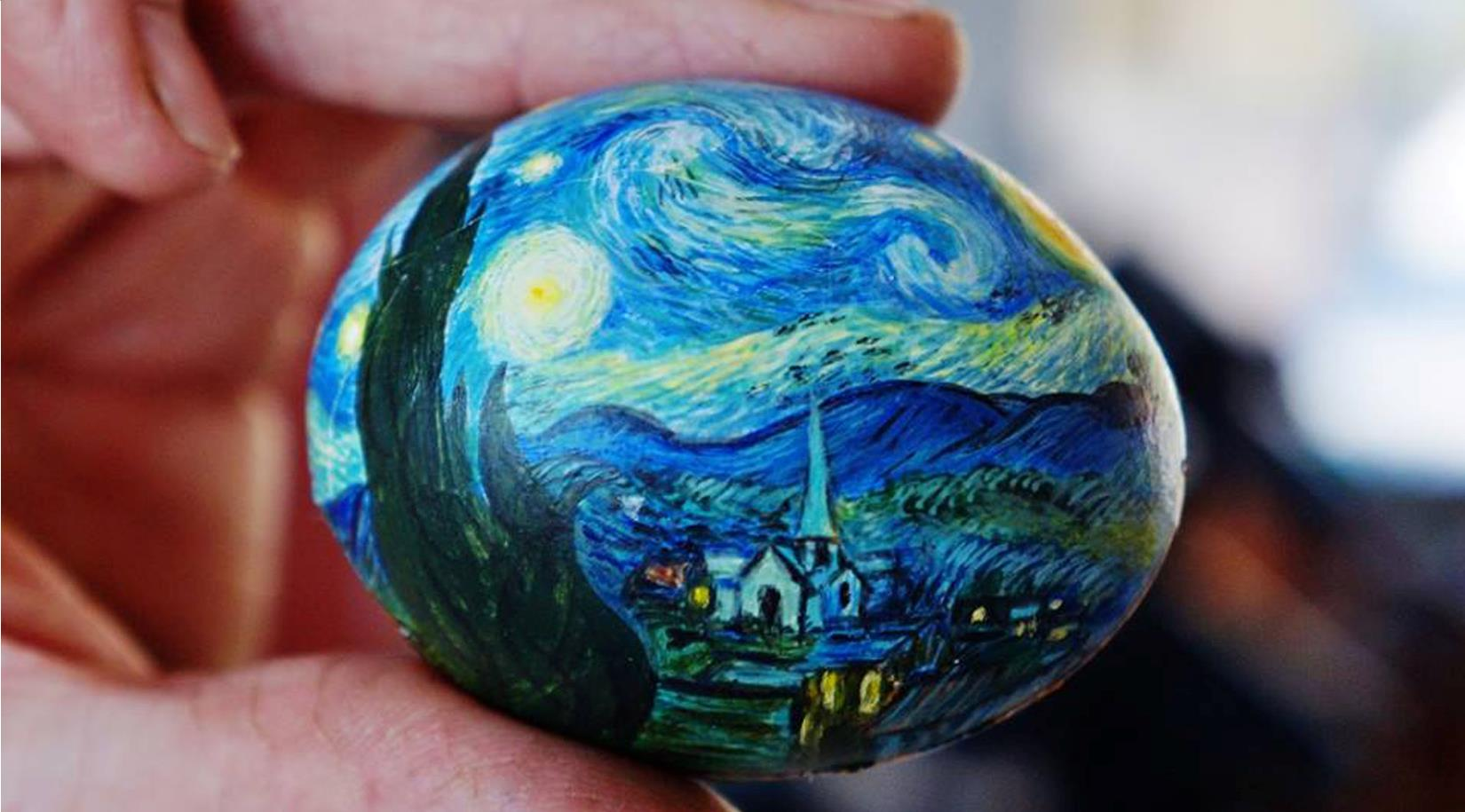 "close up of van gough's ""starry night"" painted on an egg"