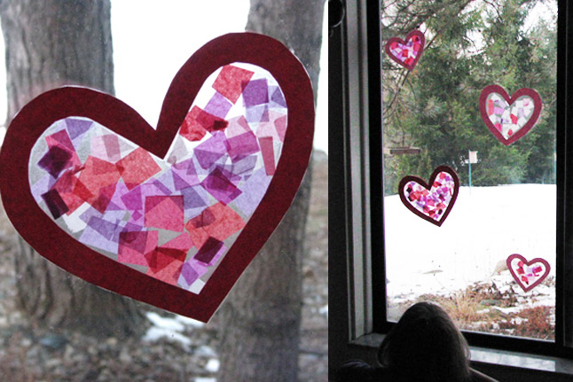 Stained Glass made of tissue paper, contact paper and construction paper
