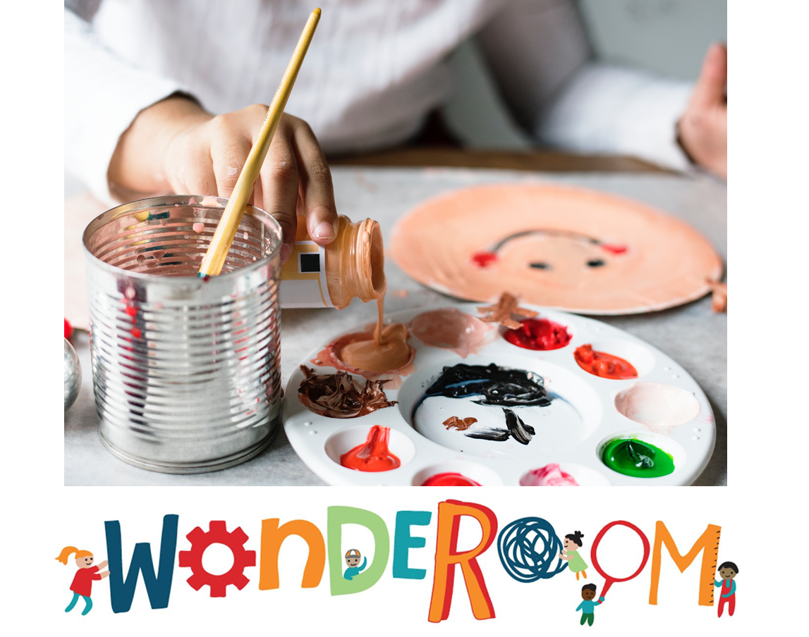 WondeRoom logo with child pouring paint