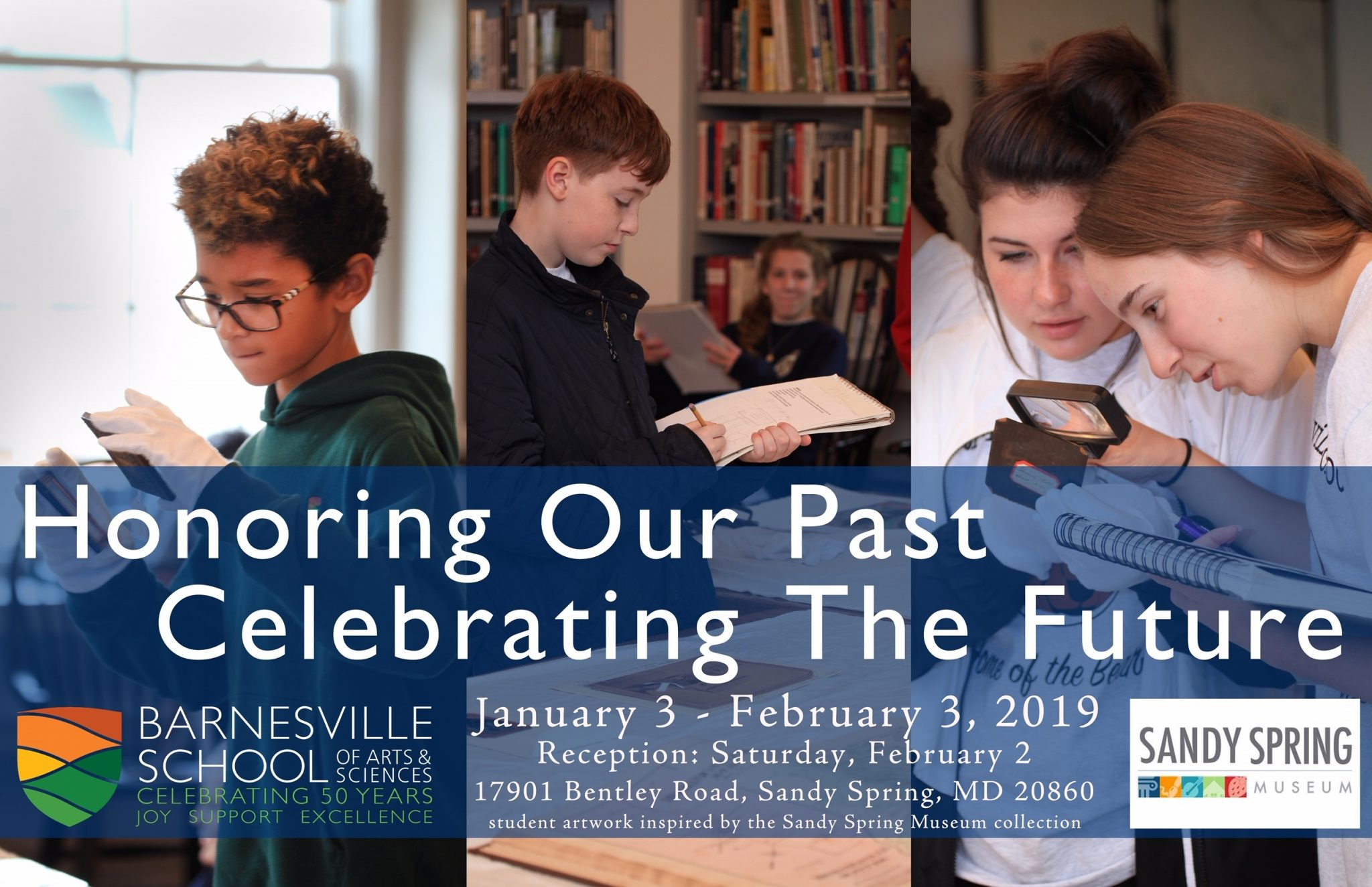 Honoring Our Past, Celebrating the Future postcard with students observing artifacts, the SSM logo and Barnesville School logo. Includes reception information