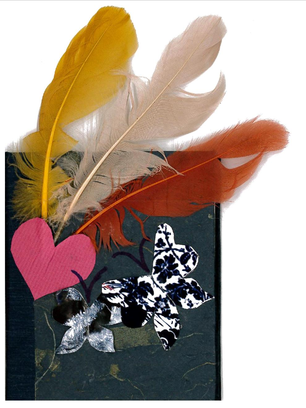 Book enhanced with feathers, a heart, and butterflies