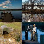 collage of four images: three people standing on the end of a dock, a small creek, trees on a tiny island in a lake, and a man standing on the end of a dock with a camera