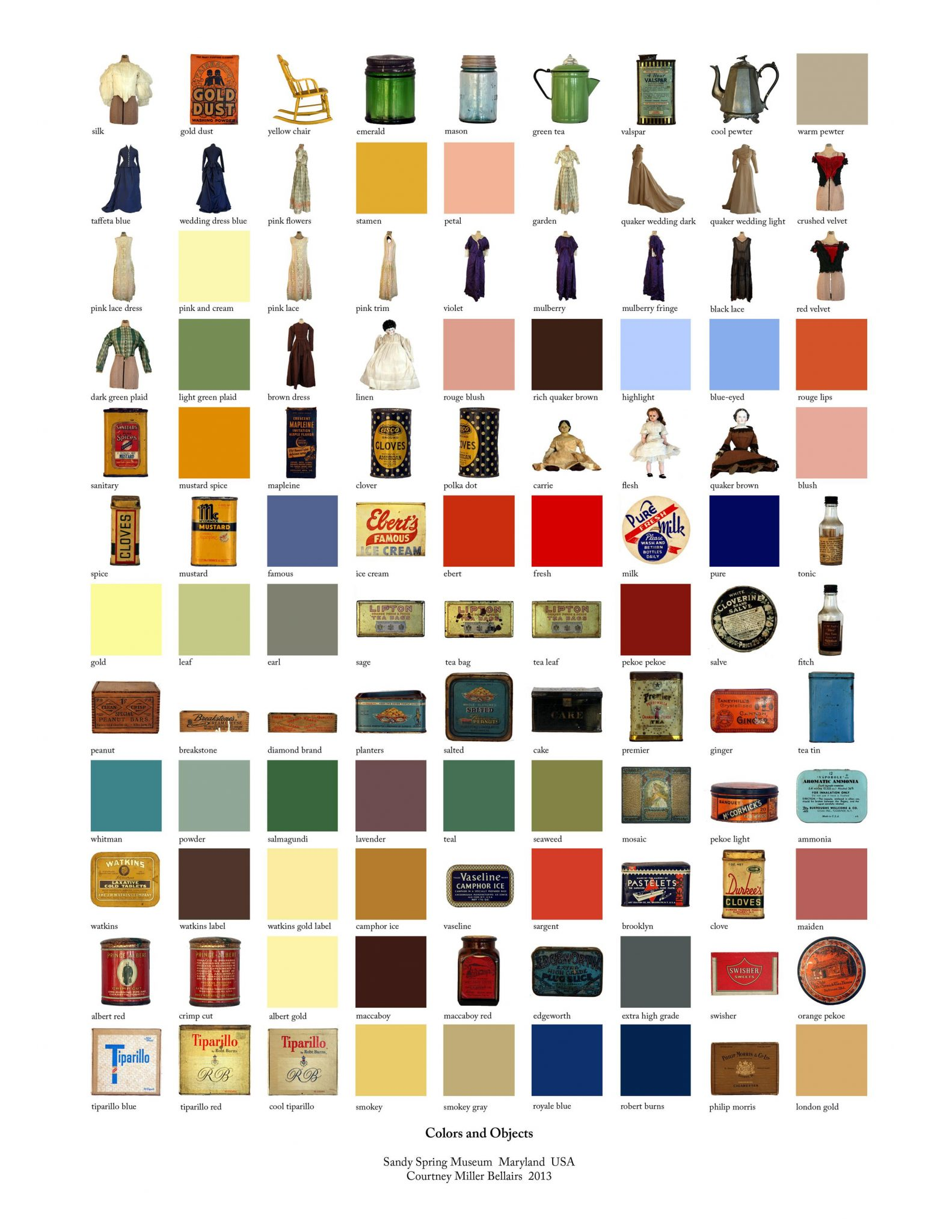 collage of many images of different color swatches, dresses, and miscellaneous items