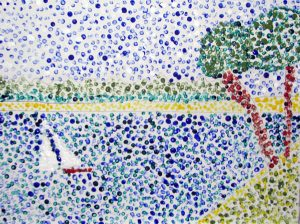 Sailboat painting done in the style of pointillism
