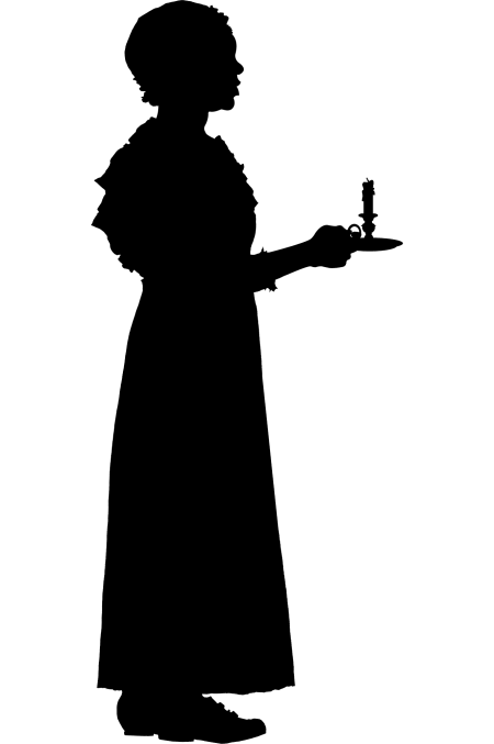 silhouette of young woman holding a candle