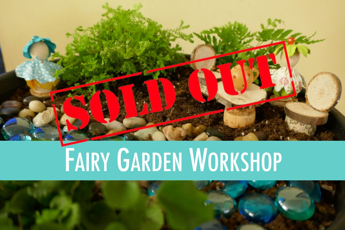 fairy garden with sold out overlay
