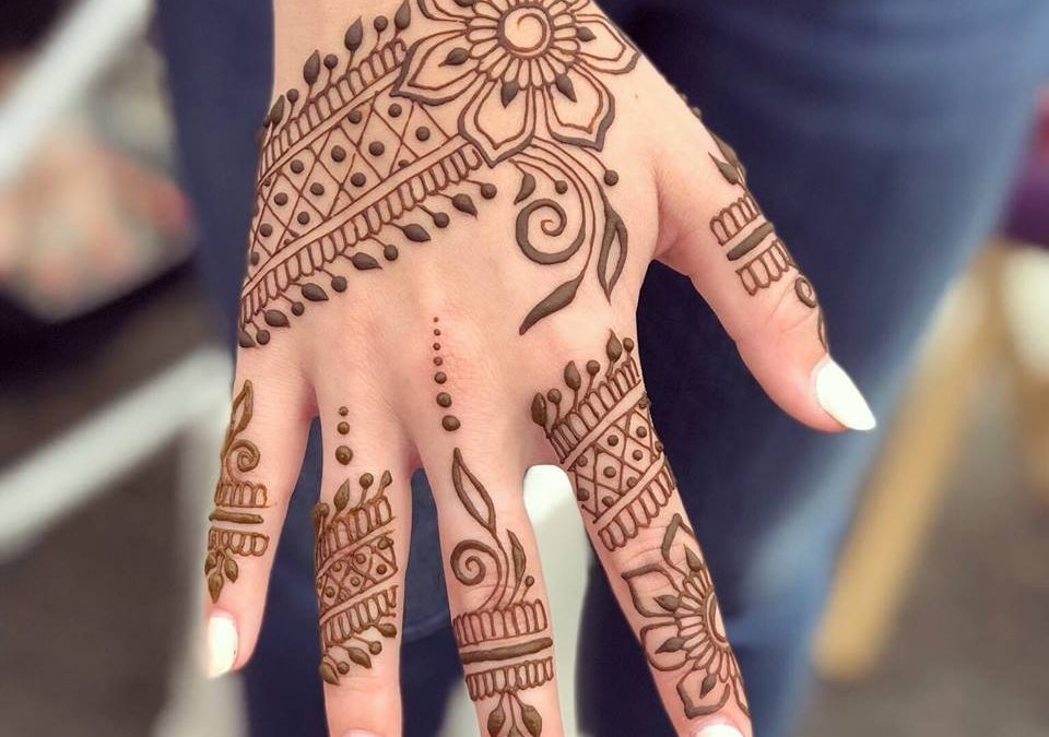 Close-up of woman's hand decorated with henna