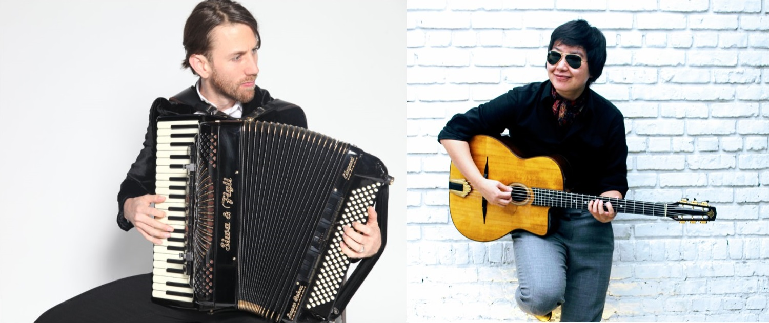 Musicians - Lisa Liu with her guitar and Dallas Vietty with accordion.