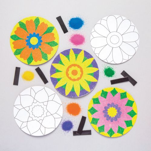 five round and flat handmade flowers, three in color and two uncolored