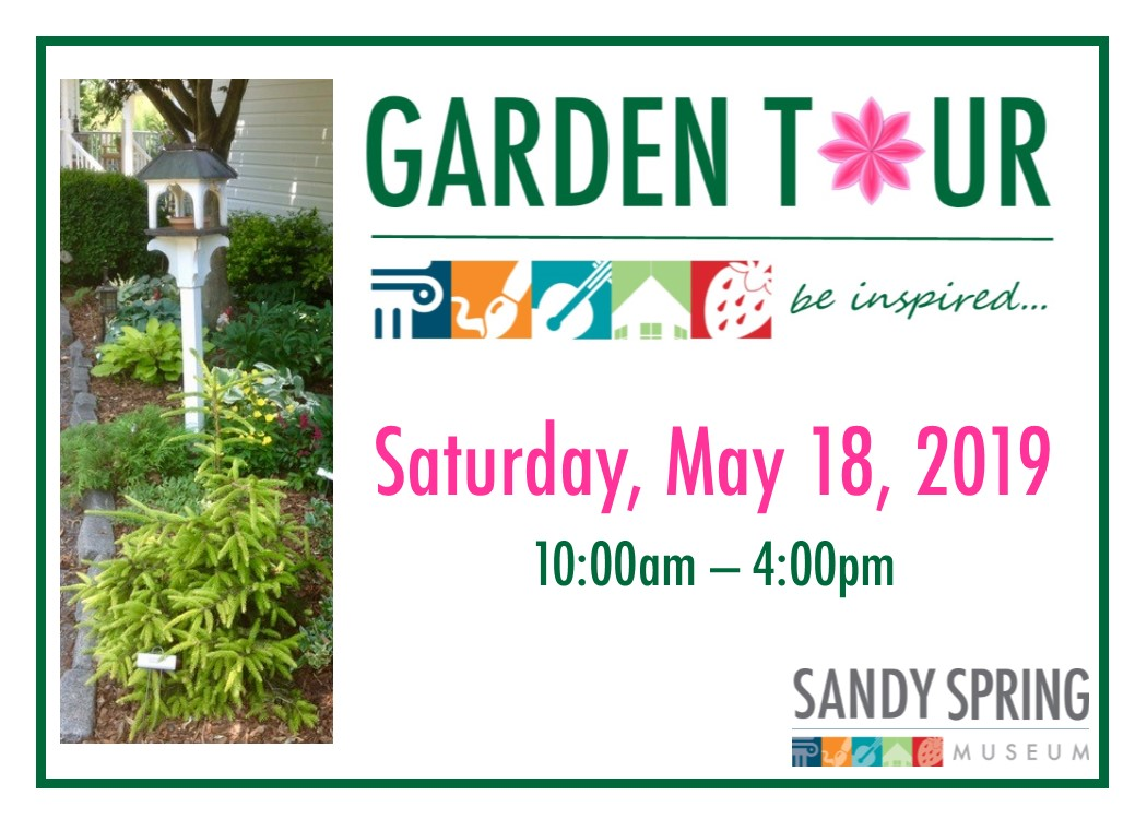 garden tour logo with date and time - saturday, may 18, 2019, 10am-4pm