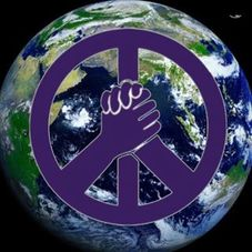 peace sign with holding hands overlaying and image of the earth from space