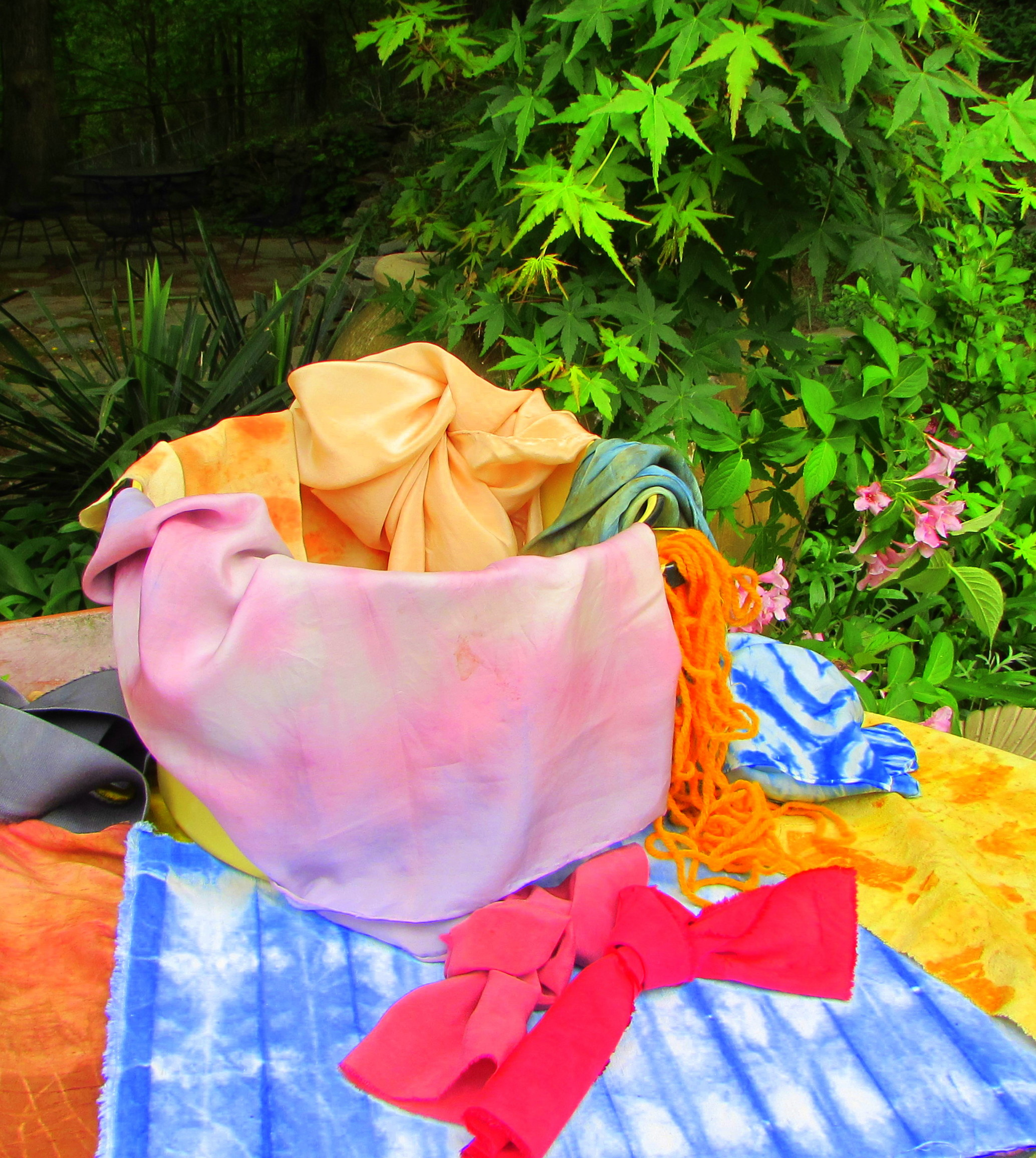 Naturally dyed textiles by resident artist Patricia Kessler
