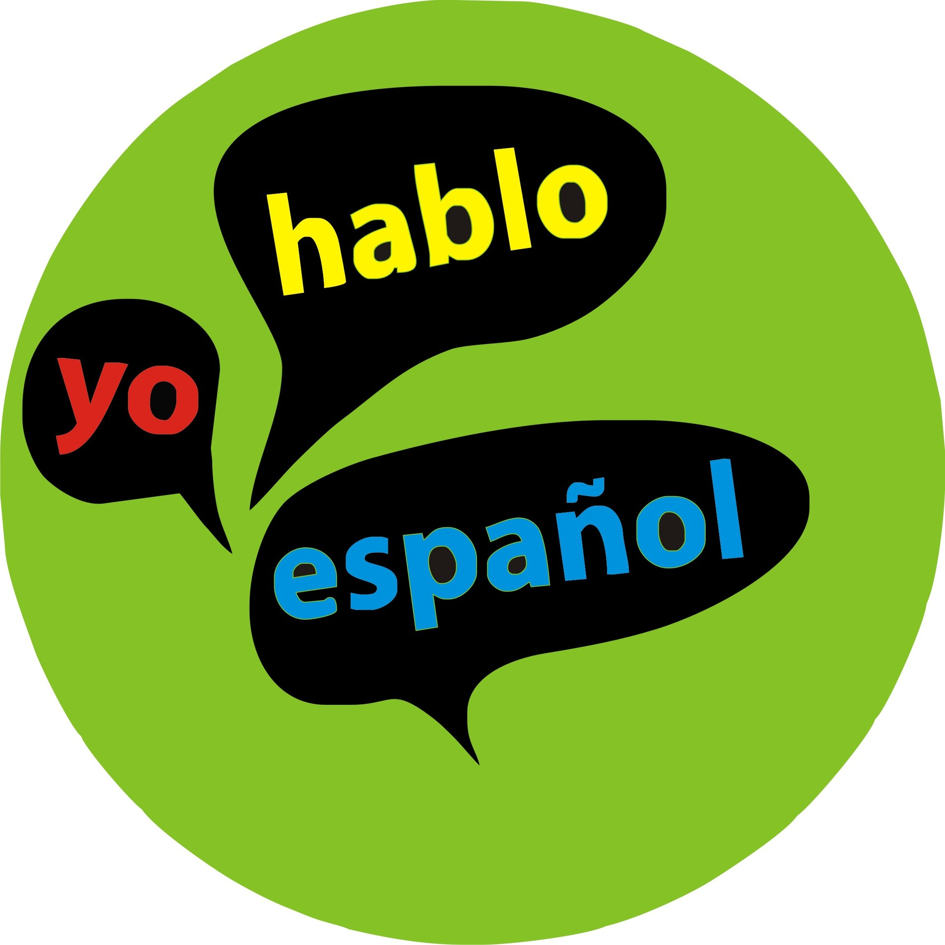 yo hablo espanol in thought bubbles inside green circle