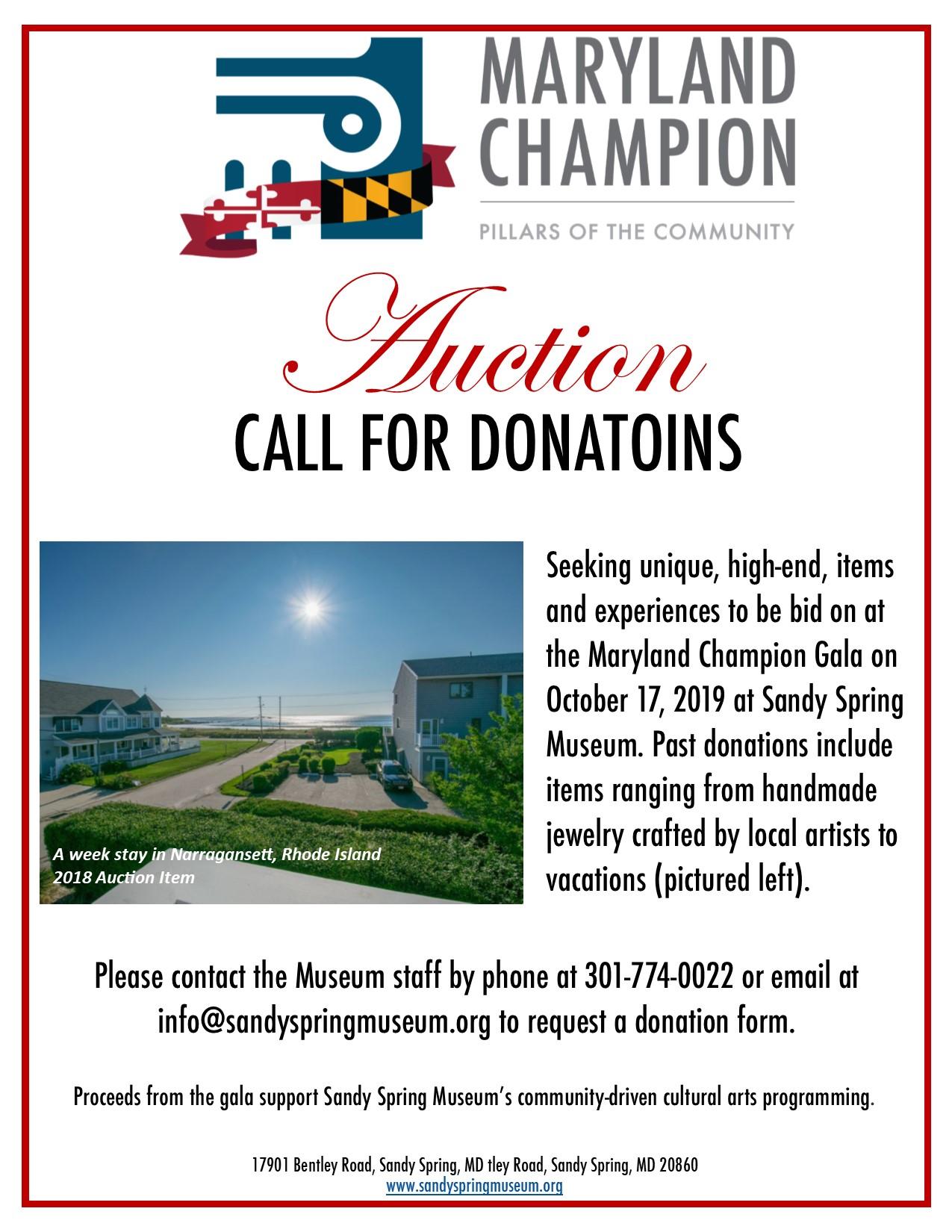 2019 Maryland Champion Gala auction donation solicitation flyer