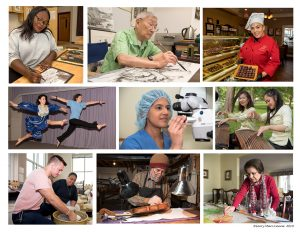 collage of 9 images: woman drawing, man painting, chocolatier, two young women dancing, optometrist, two women playing instruments, two people working with clay, man building violin, and woman painting